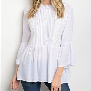 Tops - ❗️LAST TWO❗️Lace Trim Babydoll Top